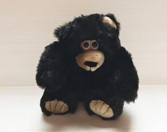 BLACK PLUSH MONKEY, Vintage Stuffed monkey, black plush ape, stuffed monkey, stuffed chimp, gift for child, toy for child, collectible toy