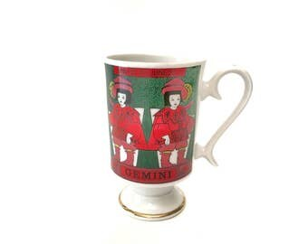 Vintage Gemini Coffee Mug - Royal Crown Arnart Zodiac By Elena Smug Mug - Gemini Zodiac Birthday Mug