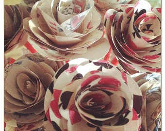 Decorative alice in wonderland handmade paper flowers x 6