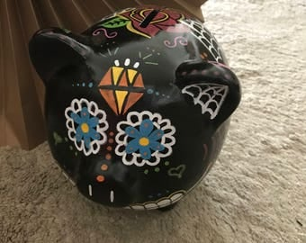 Black Day of the Dead Piggy Bank