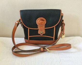 Vintage Dooney and Bourke All Weather Black Pebbled Leather Shoulder Bag Purse