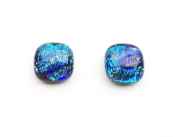 Vibrant 11mm Dichroic Fused Glass Stud Earrings, Green, Blue, Purple, Cabochons on Hypoallergenic Surgical Steel Posts, Dichroic Jewelry