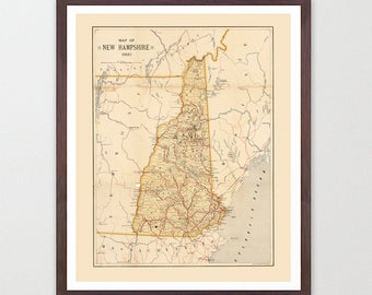 New Hampshire Map Etsy - State of nh map