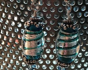 Venetian Glass earrings in Sterling Silver