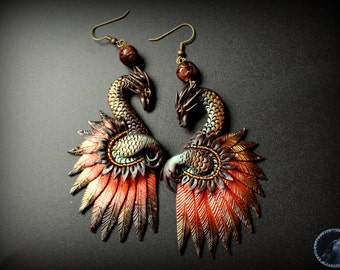 Bronze effect dragon earrings from polymer clay