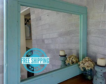 FREE SHIPPING -Herringbone Reclaimed Wood Mirror by Lane of Lenore in 20 colors -Large Wall Mirror -Rustic Modern Home - Home Decor - Mirror