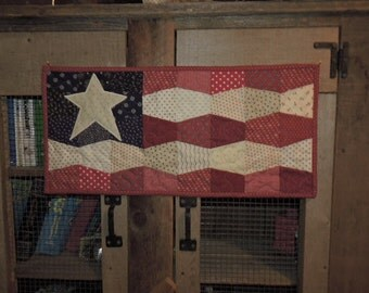 """Quilted Patriotic Runner in Navy, Red and Cream with Tumbler Blocks     24"""" x 11.5"""""""