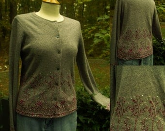 1990s does 1950s Grey Beaded, Sequined Angora Blend Cardigan Sweater, Ann Taylor, Size M, Made in Hong Kong
