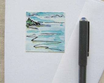 Original Hand Painted Tiny Art #12 - Maine Seascape Greeting Card