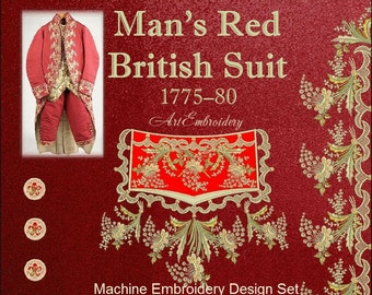 Man's Red British Suit 1775-1780 - Embroidery Designs Set