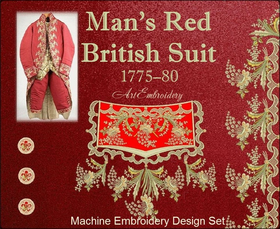 Man S Red British Suit 1775 1780 Embroidery Designs Set