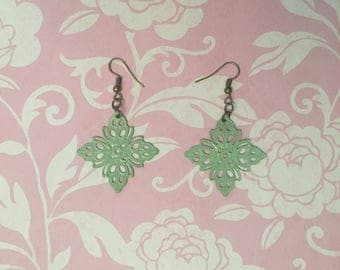 Mint Green Hand Painted Filigree Earrings