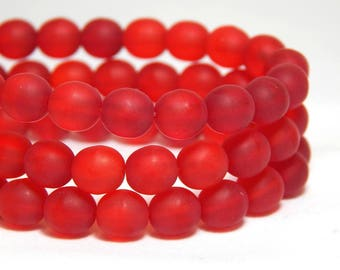 6mm Matte Siam Ruby Czech Beads, Ruby Beads, Red Beads, Red Matte Beads, 6mm Round Beads, 6mm Red Beads, Red Beads, Red Sea Glass, T-5C