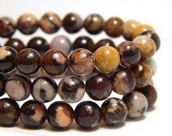6mm Brown Zebra Jasper, Full Strand, 6mm Zebra Jasper, Brown Zebra Jasper, Round Gemstones, 6mm Gemstones, Earthy Beads, Brown Beads, B-31D