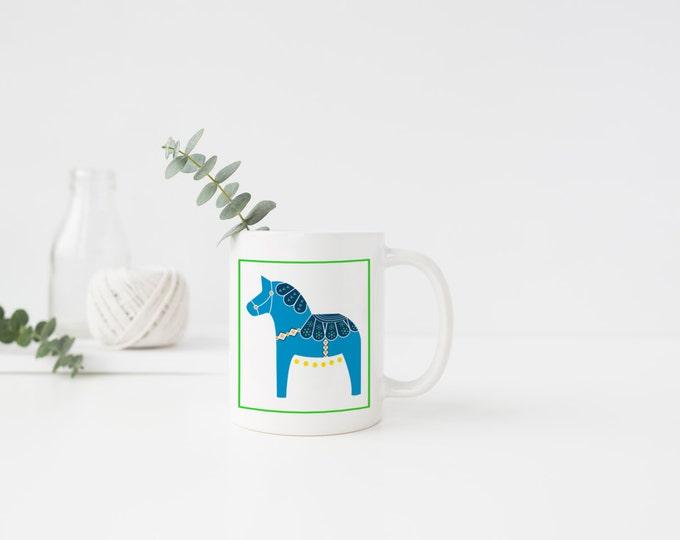 Neon Blue Dala Horse Mug