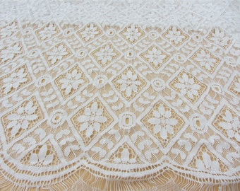 Cording lace ,circle lace fabric,Eyelash lace fabric White wedding Lace /  1.5m*1.5m white Wedding Lace Fabric,cotton  lace fabric