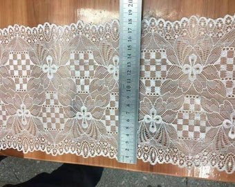 off white Plum flower  wedding lace,Stretch Lace Trim - Extra Wide Lace Trim, 18cm Wide Lace Trim- off white lace