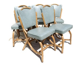 Mid-Century, Vintage, Outdoor Chairs: Bamboo, Rattan, Teal, Patio, Sunroom, Made by Ban-Tan - SET of 5