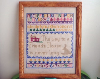 Friendship Embroidery Sampler, Framed Under Glass, Signed and Dated on Back