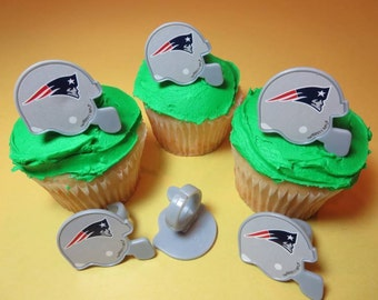 12 New England Patriots Cupcake Rings NFL Football Toppers Party Favors