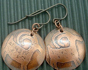 Mountain Goat Earrings in Copper with Native American Columbia River Gorge Petroglyphs