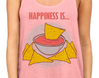 New Happiness Is... Chips And Salsa Racerback Tank Top Pink Juniors S-XL B583
