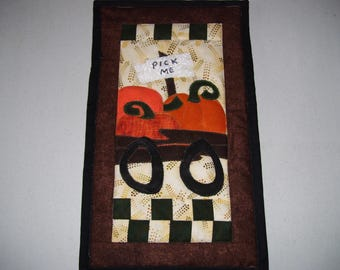 Fall quilt-small quilt for apartment or cubicle-small space quilt for fall-pumpkin quilt
