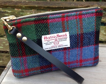 Harris tweed Wristlet clutch bag in Macdonald tweed with detachable leather strap.