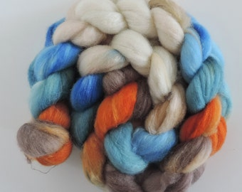 merino silk,Dike Cat, top, handpainted fiber for spinning, .4,2oz