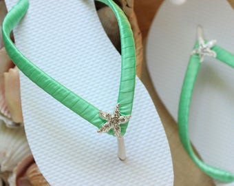 Bachelorette party favor, FLIP FLOPS, Mint, Bridesmaid gift bride flip flops Mint wedding sandals Bridesmaid flip flops, Bridal shower