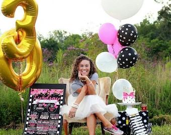 Kate Spade Inspired  Birthday Board - Any Age -  Glitter - Flowers - Digital Print - Printable to Photoshop - Adult Birthday Chalkboard