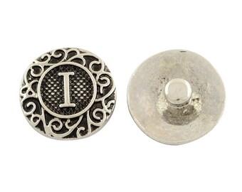 "19mm Antique Silver Alphabet /Letter ""I"" Snap Button Charms Knob Size: 5.5mm( 2/8"")"