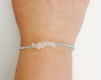 Aquamarine bracelet, Dainty Beaded Bracelet, Skinny Beaded Bracelet, Crystal quartz bracelet, Gemstone Bracelet