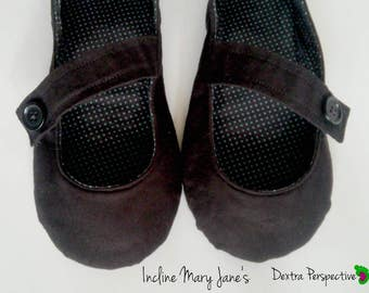 Black Flats - Black Mary Jane Flats with Leather or Rubber Sole