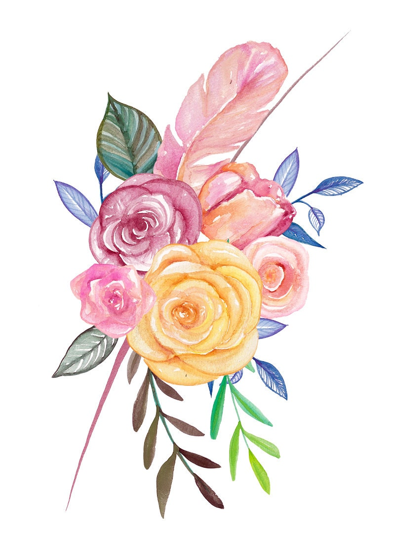 Watercolor Flowers Clipart Bright Colorful Wreath Pink