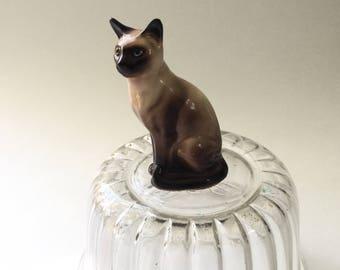 Vintage Hagen Renaker Siamese Cat/Side Looking Tail Wrapped Siamese Cat