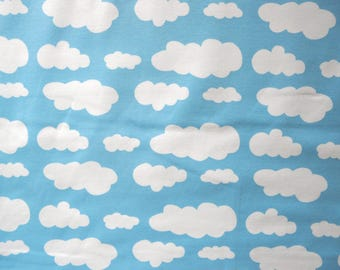 Fabric - Jersey fabric - Sky blue cloud print knit - Cotton/elastane