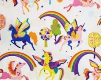 Fabric - Alexander Henry - Magic rainbow shine - white - cotton print.