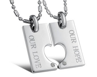 Our Hope, Our Love - Engraved Necklaces for Her / Personalized Necklaces for Him / Couples Necklaces / Custom Engraved