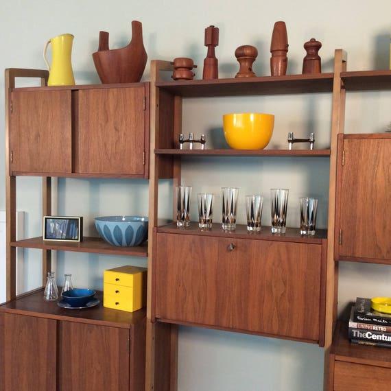 sold vintage mid century modern danish modern teak wall unit storage unit room divider bookshelf bookshelves secretary storage cabinet