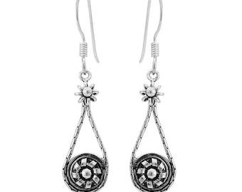 Earrings Silver earrings 925 sterling silver ladies earrings flower thread (No. OS-436)