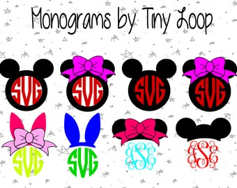 Monogram Mouse File for Cutting Machine Instant Download