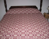 RESERVED for Judith  Large vintage woven coverlet in pine tree and and snowflake pattern.  By Goodwin Guild weavers.