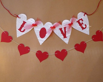 Love bunting, heart garland, wedding decor, engagement party, hen do, bridal shower, newborn photo prop