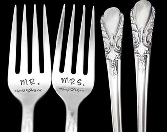 Stamped Wedding Forks Mr Mrs Fork Something Old Engraved Vintage Mr Mrs Flatware Silver Plated Dinner Luncheon Forks Engagement Gift