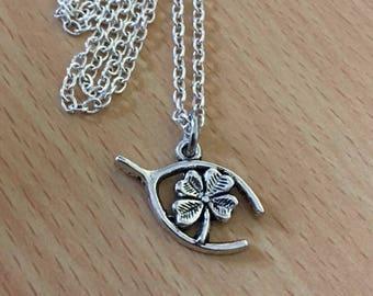 Silver Four Leaf Clover Wishbone Pendant Necklace  4 Clover Necklace Four Leaf Clover Jewelry Wishbone Jewellery