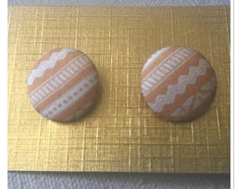 Tribal Mustard Fabric Covered Button Post Earrings