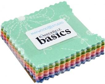 "KimberBell Basics Colors Mini Charm Pack; 2.5"" Fabric Squares; 42 pcs Pre-Cut Fabric Bundle; Maywood Studio; MC-MASKIB-COL KimberBell Fabric"