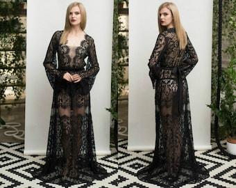 Long Black Lace Nightgown F18 (black), Bridal Black Lingerie, Wedding Lingerie,Boudoir, Black Sleepwear, Christmas Gift For Her, For Woman