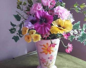 Pansies, Carnations, Spring Flowers, Silk Flower Arrangement, Faux Purple Flowers, Tall Floral Centerpiece, Artificial Purple Flowers